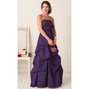 Strapless Satin Ballgown with Pick-up & Sash 81123